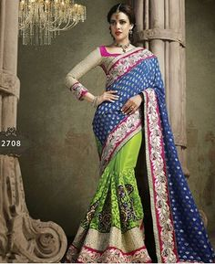 Buy Angelic Green And Blue Wedding Sarees [PNTMN2708] at $172.25