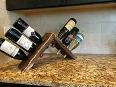 Countertop reclaimed wood 6 bottle wine holder on Etsy, $35.00
