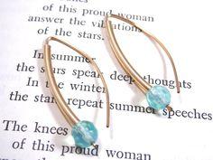 Minimalist Jewelry Gold Filled Hoop Earrings with Blue Opalite Dangle Drop. $24.00, via Etsy.