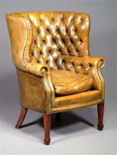 Merveilleux Gold Leather On This Fabulous Old Wingback. This Is Perfection.