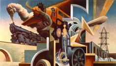 """Thomas Hart Benton (American, 1889-1975) Instruments of Power from America Today, 1930–31 Mural cycle consisting of ten panels Egg tempera with oil glazing over Permalba on a gesso ground on linen mounted to wood panels with a honeycomb interior"""