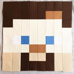 You can't have a Minecraft quilt without Steve, right? My son showed me several different versions of Steve: Diamond Steve, Golden Steve, etc. But we decided to go with a classic version of S… Minecraft Pattern, Minecraft Blocks, Minecraft Room, Minecraft Stuff, Minecraft Blanket, Minecraft Beads, Quilt Sizes, Mug Rugs, Quilting Designs