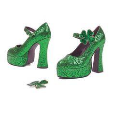 "5"" Chunky Heel Green Glitter Maryjane"