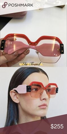 NEW! Red and Pink Miu Miu's Red and pink Miu Miu shades. Get ready for the holiday's💋 Actual photos of the product Miu Miu Accessories Glasses