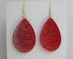 Quilled Earrings Metallic Red on Red Paper by BarbarasBeautys, $13.00