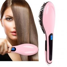 Crazy kandA Digital Anti Static Ceramic Hair Straightener Heating Detangling Hair Brush-Anti Scald, Zero Damage,For Faster Straightening Styling * You can get additional details at the image link. Ceramic Straightening Brush, Detangling Hair Brush, Ceramic Hair Straightener, Hair Straightening, Straightner Brush, Fast Hairstyles, Straight Hairstyles, Breaking Hair, Styling Brush
