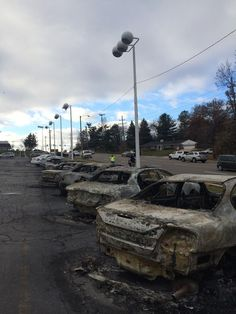 Burnt out cars from riots in Fergason MO 11/25/14