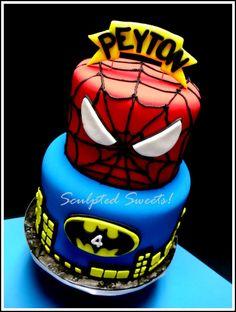 - Spiderman/Batman Superhero Cake