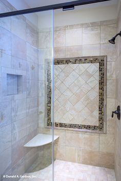A luxurious and spacious shower for the master suite. The Foxglove #1297. http://www.dongardner.com/house-plan/1297/the-foxglove. #Master #Bathroom #DreamHome