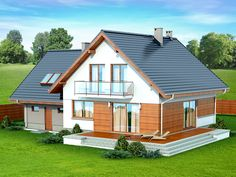 DOM.PL™ - Projekt domu DN NOELIA BIS 2M (garaż dwustanowiskowy) CE - DOM PC1-50 - gotowy koszt budowy Dream House Plans, Design Case, Home Fashion, Techno, Sweet Home, Shed, New Homes, Outdoor Structures, House Design
