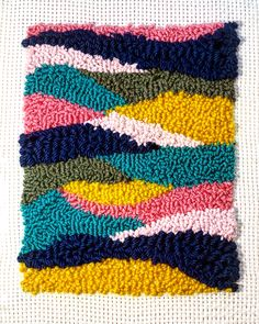 Colorful punch needle project done with an Oxford Punch Needle! Embroidery Needles, Cross Stitch Embroidery, Hand Embroidery, Hook Punch, Punch Needle Patterns, Latch Hook Rugs, Craft Punches, Diy Carpet, Tapestry Weaving