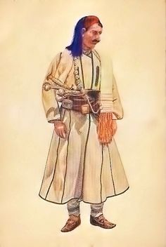 Albanian costume in the district of Struga/Ohri now in FYROMacedonia Folk Costume, Costumes, Albanian Culture, Greek Warrior, In Ancient Times, Traditional Dresses, Dressing, Macedonia, Mythology