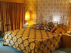 Roslyn and Irv's bedroom with Mastercraft brass bed from American Hustle. Production designer Judy Becker. #VintageFineObjects