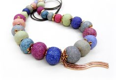 Colorful Greek Ceramic Necklace with Rose Gold Metal by vess65