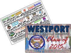 High School Graduation Class of 2015 Fundraising Cards, High School Project graduation Fundraising Discount Cards, High School Fundraising Cards High School Fundraising Ideas