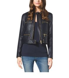 Cool goes cropped. Our leather moto jacket is one of Michael's must-haves this season. At once glamorous and edgy, this piece will pair perfectly with feminine frocks, like a printed dress, or play up its rock 'n' roll vibe and team it with jeans and ankle boots.