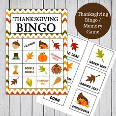 Printable Thanksgiving Bingo & Memory Game - Instant Download - 12 Bingo Cards, 16 Calling Cards, 16 Memory Card Pairs, 4 Backgrounds  - PDF