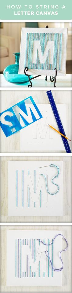 Learn how to string a letter on canvas. Outline the letter using a stencil, create stitches with yarn and then add a second color yarn. Find everything you need for this craft at your local Michaels. (diy arts and crafts easy) Cute Crafts, Crafts To Do, Yarn Crafts, Arts And Crafts, Yarn Letters, Canvas Letters, String Letters, Initial Canvas, Monogram Wall