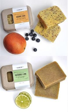 Fruit inspired soaps from Sea Grape (www.seagrapesoap.com).  Packaged in  GreenKraft clamshells from Sustainable Packaging Industries.