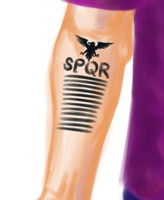 Jason Grace SPQR - definitely want this as a tattoo. Probably less lines, though... And probably with Neptune's trident, instead of Jupiter's eagle