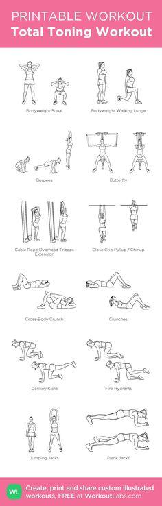 Gym & Entraînement : Total Toning Workout:my custom printable workout by @WorkoutLabs #workoutlabs