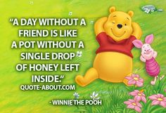 A day without a friend is like a pot without a single drop of honey left inside. - Winnie the Pooh