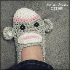 Download Now - CROCHET PATTERN Sock Monkey Slippers - Ladies Sizes - Pattern PDF
