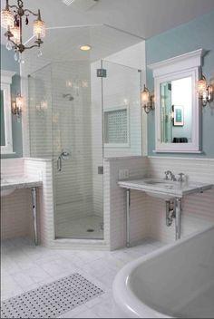 Stocked Liscio 2x4 bevel subway and Premium Italian Bianco Carrera bath room