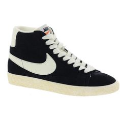 Nike Blazer High Vintage Black Trainers ($81) ❤ liked on Polyvore featuring shoes, sneakers, chaussures, nike, sapatos, vintage sneakers, nike shoes, black sneakers, black hi top sneakers and black leather shoes