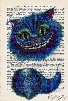 Cheshire Cat Biro Art Book Book Page Print. Alice in Wonderland Alice In Wonderland Artwork, Dark Alice In Wonderland, Adventures In Wonderland, Biro Art, Biro Drawing, Collage Drawing, Harry Potter Disney, Chesire Cat, Cheshire Cat Art