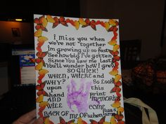 grandparents day Grandparents Day Crafts, Monster Crafts, Footprint Art, Toddler Crafts, Gifts For Family, Holiday Fun, Poem, Diy Gifts, School Stuff