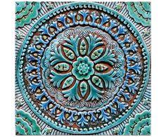 Art for Bathroom // Ceramic tiles // Bathroom Wall Art // Bathroom decor // bathroom tile // suzani #4 // Turquoise