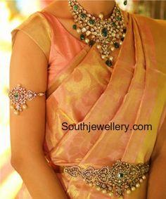 Flat Diamond Necklace, Vanki and Vaddanam Set