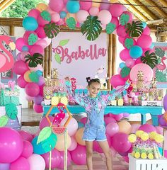 Flamingo Party, Flamingo Birthday, Barbie Birthday, Luau Birthday, Birthday Parties, Luau Party, Kids Luau Parties, Tropical Party, Birthday Party Decorations