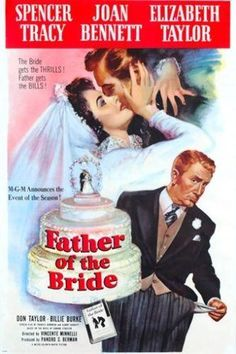 FATHER OF THE BRIDE vintage movie poster SPENCER TRACY LIZ TAYLOR 24X36 hot