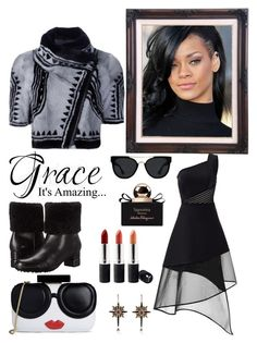 """""""BLACK!!!!"""" by ann-kelley14 on Polyvore featuring Salvatore Ferragamo, Yigal Azrouël, David Koma, Alice + Olivia, Terre Mère, Quay, Alexander McQueen, Rihanna, FAmous and SKDesigns"""
