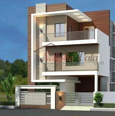 Single Floor House Design, Modern House Floor Plans, Duplex House Design, House Front Design, Modern House Design, House Elevation, Front Elevation, Staircase Railing Design, Building Front