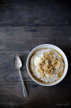 Banana Millet Breakfast Porridge is like healthy banana bread in a bowl! It's an easy, gluten-free breakfast that the whole family will love.  Get the recipe from SavorySimple.net