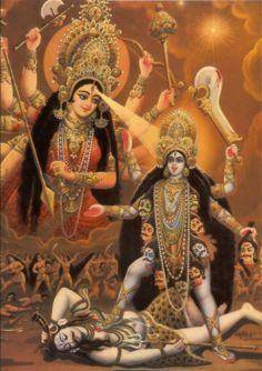 """shatkona: """" Durga, Kali, and Shiva Although those who are ignorant of her story and her symbolism may think her a demon, the Goddess Kali is a mighty vanquisher of demons. She was created by the Goddess Durga to destroy the demons Shumbha and. Kali Mata, Kali Goddess, Indian Goddess, Durga Maa, Shiva Shakti, Jai Hanuman, Arte Krishna, Maa Kali Images, Lakshmi Images"""
