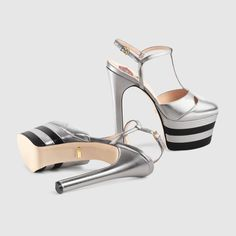 Gucci Women - Gucci Silver Leather platform pumps - $990.00