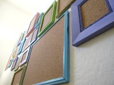 upcycled frames into pinboards