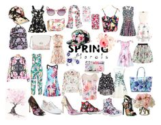 """""""Spring Florals"""" by jessies-wallpapers ❤ liked on Polyvore featuring Timberland, ERIN Erin Fetherston, Diane James, Manon Baptiste, Mary Katrantzou, Apt. 9, Kate Spade, New Look, Raoul and Betsey Johnson"""