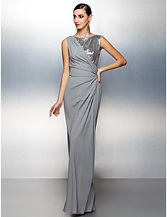 fbe6e57aa78e6 Sheath   Column Jewel Neck Floor Length Jersey Sparkle   Shine Prom   Formal  Evening Dress with Sequin   Side Draping by TS Couture®