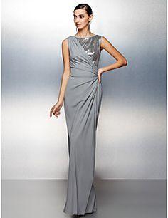 Formal Evening Dress Sheath/Column Jewel Floor-length Jersey – USD $ 139.99