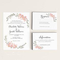 Botanische Einladung Hochzeitssuite, Hochzeit Einladung druckbare, Aufforderung, Hochzeit Einladung rustikal, Brief oder A4 (Artikel-Code: P668)