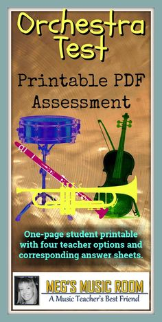 Printable Instruments of the Orchestra Test - Elementary Music Assessment - Woodwinds, brass, strings, percussion