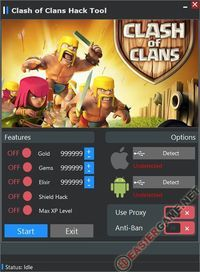 Unlimited Gold, Gems, Elixir, Shield Hack, Max XP Level in Clash of Clans  Download Clash of Clans Cheats:  http://easiergame.net/clash-of-clans-cheat-hack-android-ios/