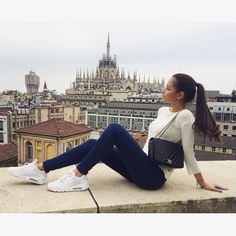 Image via We Heart It https://weheartit.com/entry/176668774/via/12715683 #brunette #chanel #cute #girl #italy #jeans #milan #nike #ponytail #pretty #spring #white #airmax