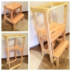 DIY learning tower: complete! The frame we made to fit on our IKEA BEKVÄM step stool is fully removable. When we are done with the learning tower we will still have a functional stool with no holes!