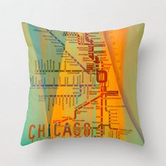 Chicago L Throw Pillow Square City Modern by BrandiFitzgerald, $45.00